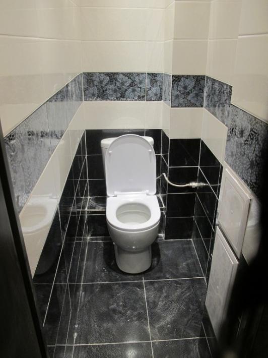 Дизайн туалета черно белое