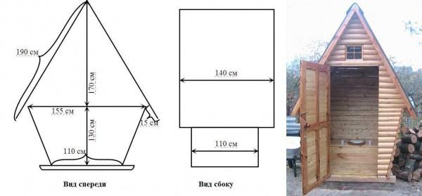 Туалет избушка на даче своими руками чертежи размеры 380