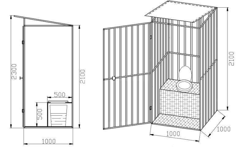 Туалет избушка на даче своими руками чертежи размеры 835