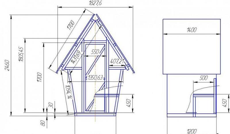 Туалет избушка на даче своими руками чертежи размеры