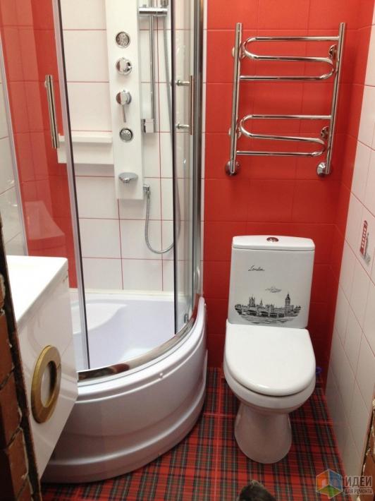 Совмещенный мини-санузел 1,4х1,4 с раковиной, подвесным унитазом, сушилкой и душем + чертежи и фото