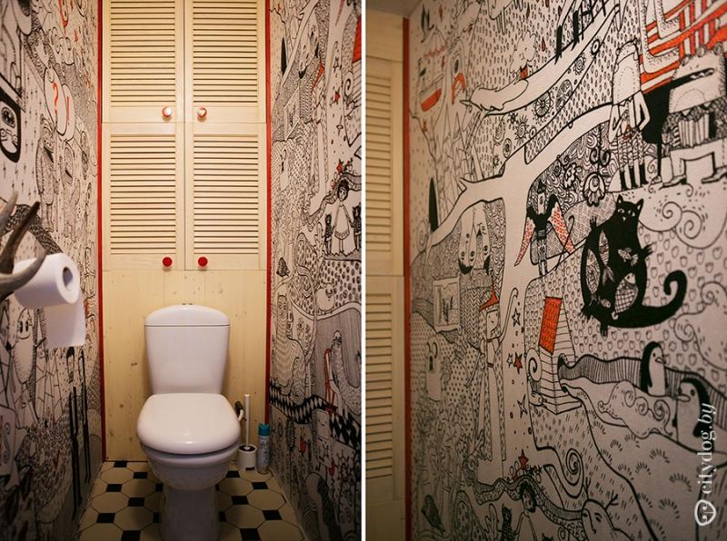 Как расписать стены в туалете своими руками 38